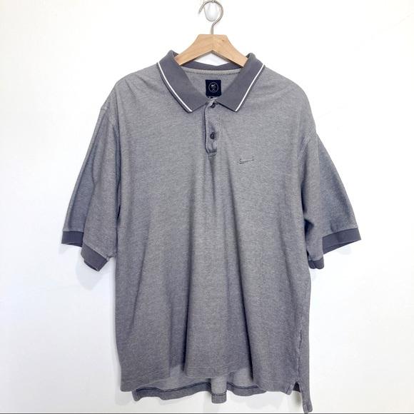 Nike golf shirt polo grey white cotton extra large